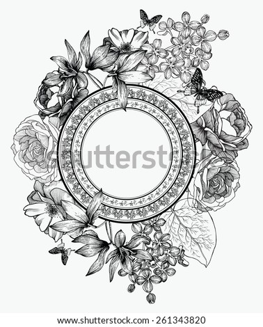 Black and white vector illustration. Frame with flowers and butterflies, hand-drawing. - stock vector