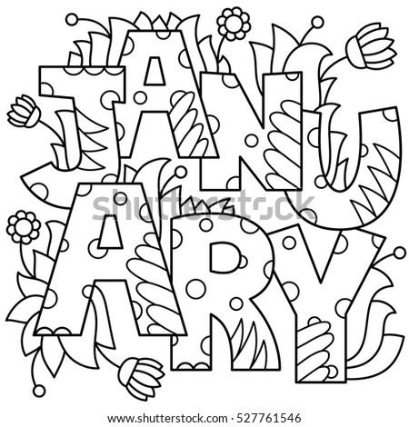 Black White Vector Illustration January Coloring Stock Vector (2018 ...