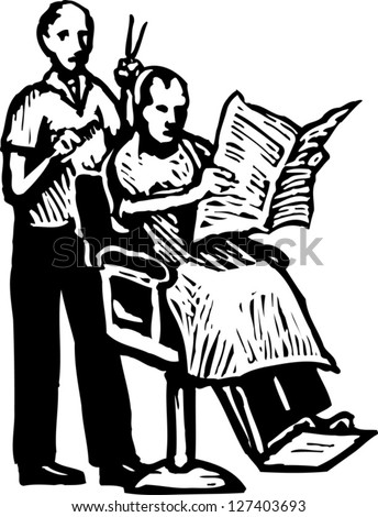 Black and white vector illustration of a barber giving haircut to a man