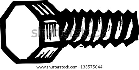 Black and white vector illustration of a bolt