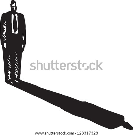 Black and white vector illustration of a businessman and his shadow - stock vector