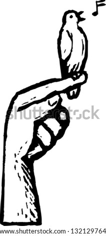Black and white vector illustration of a canary singing perched on a finger