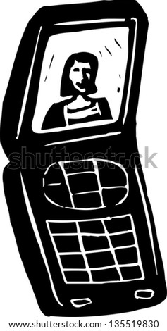Black and white vector illustration of a Cell Phone