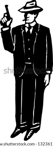 Black and white vector illustration of a federal agent - stock vector