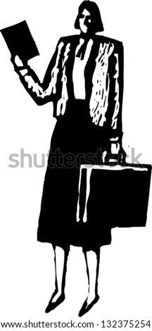 Black and white vector illustration of a female business executive