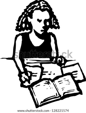 Black and white vector illustration of a girl studying