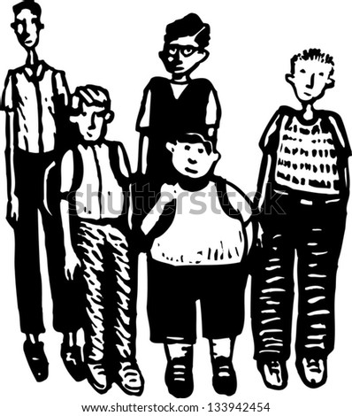 Black and white vector illustration of a group of teen boys