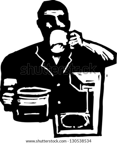 Black and white vector illustration of a man drinking coffee
