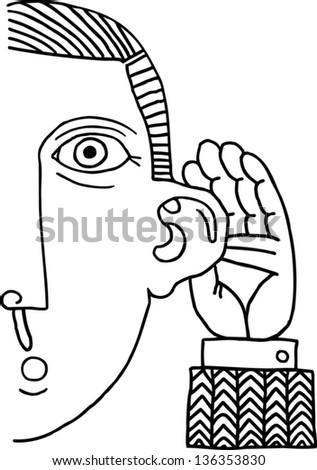 Black and white vector illustration of a man listening - stock vector