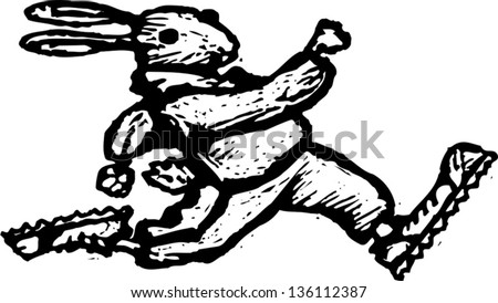 Black and white vector illustration of a rabbit running