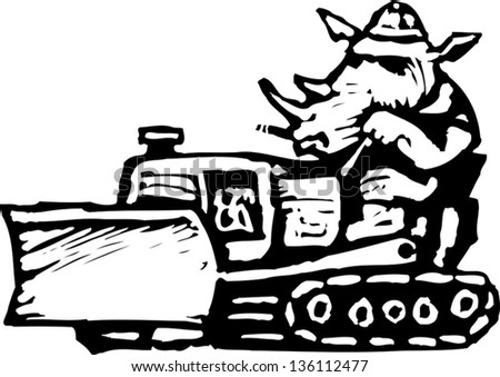 Black and white vector illustration of a rhinoceros in a tractor