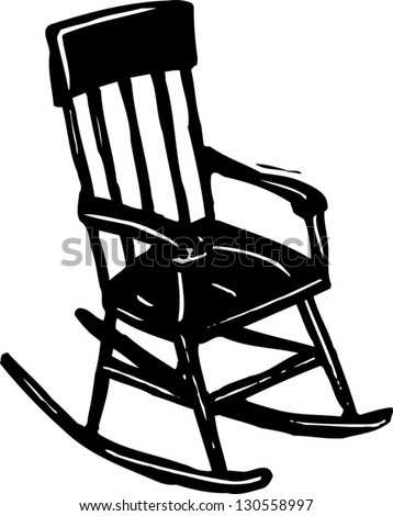 Black And White Vector Illustration Of A Rocking Chair