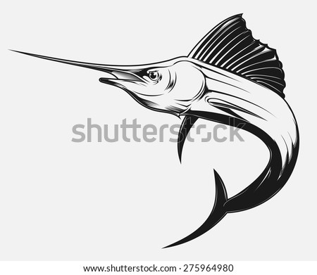 black and white vector illustration of a swordfish - stock vector