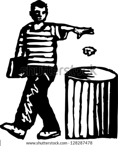 Black and white vector illustration of a teenager throwing something in the trash - stock vector