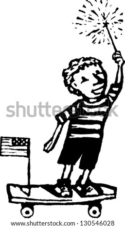 Black and white vector illustration of an American skater boy holding a sparkler