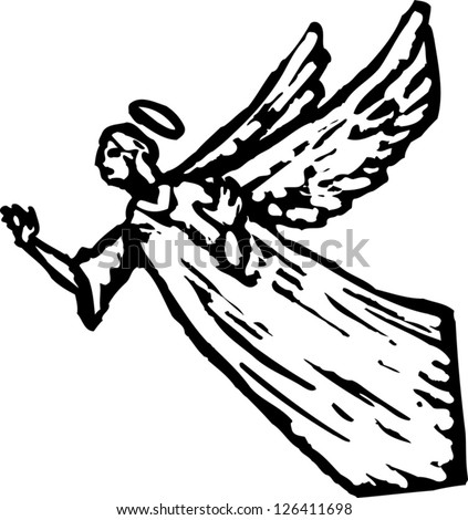 Black and white vector illustration of an angel