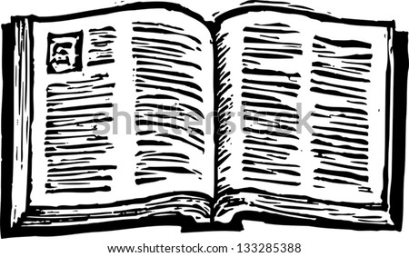 Black and white vector illustration of an open Bible - stock vector