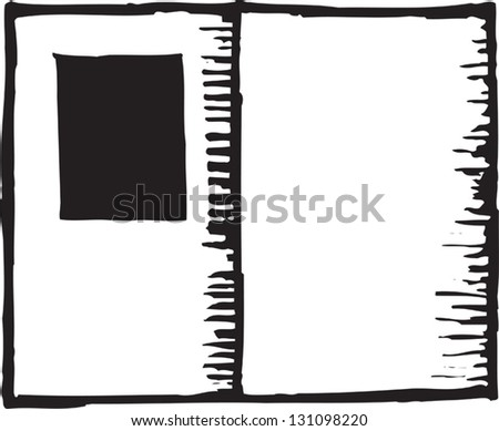 Black and white vector illustration of an open passport