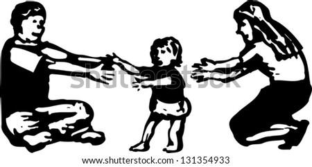 Black and white vector illustration of baby learning to walk