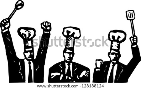 Black and white vector illustration of businessmen wearing cook hats