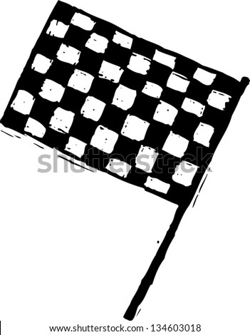 Black and white vector illustration of Checkered Flag - stock vector