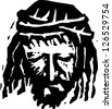 Black and white vector illustration of Christ - stock photo