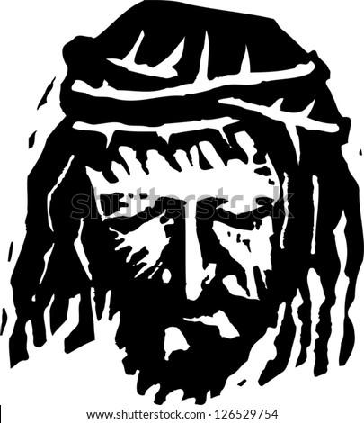 Black and white vector illustration of Christ - stock vector