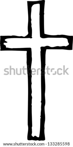 Black and white vector illustration of Christian cross - stock vector