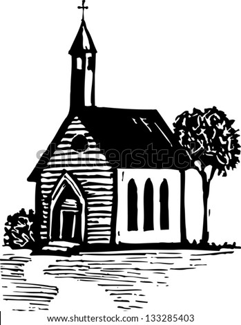 Black White Vector Illustration Country Church Stock ...