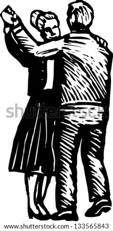 Black and white vector illustration of couple dancing
