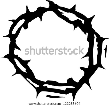 Black and white vector illustration of crown of thorns - stock vector