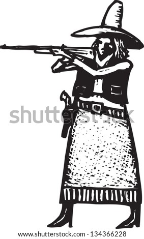 Black and white vector illustration of dangerous western woman