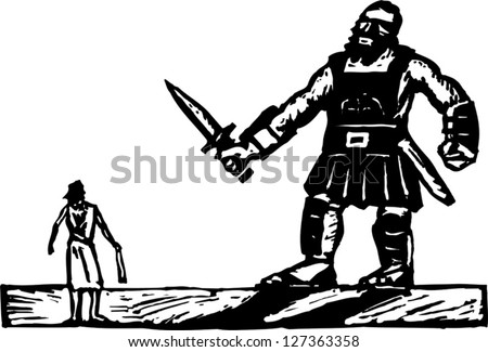 Black and white vector illustration of David and Goliath - stock vector