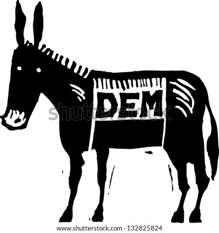 Black and white vector illustration of Democratic donkey - stock vector