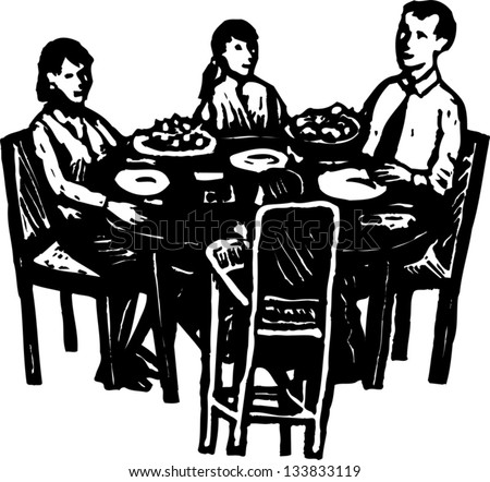Black And White Vector Illustration Of Family Dinner At Table