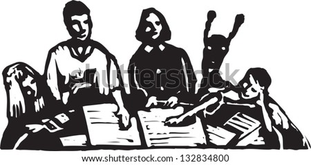 Black and white vector illustration of family playing game at the table