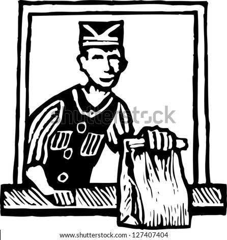 Black and white vector illustration of fast food worker