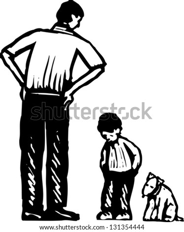Black and white vector illustration of father scolding son