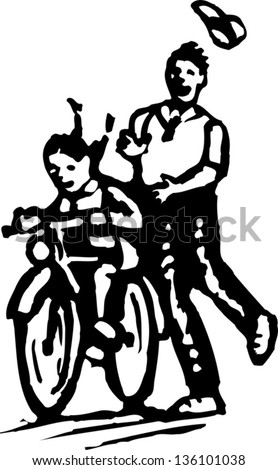 Black and white vector illustration of father teaching girl to ride the bicycle