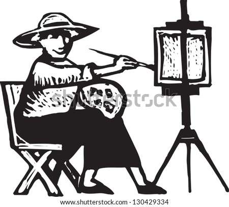 Black and white vector illustration of fine art painting