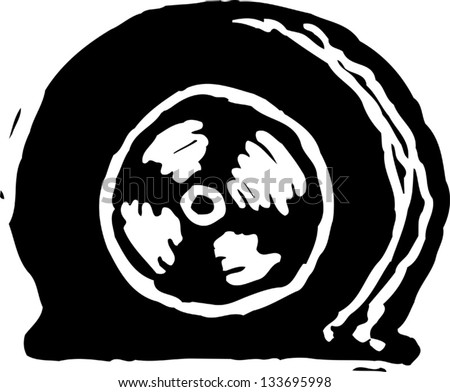 Black and white vector illustration of flat tire - stock vector