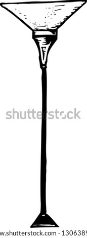 Black and white vector illustration of floor lamp