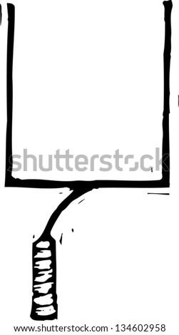 Black and white vector illustration of Football Goal Post - stock vector