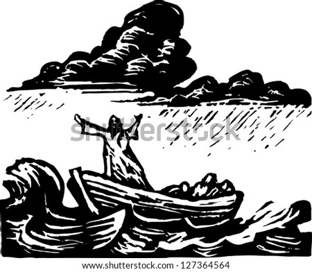Black and white vector illustration of Galilee - stock vector
