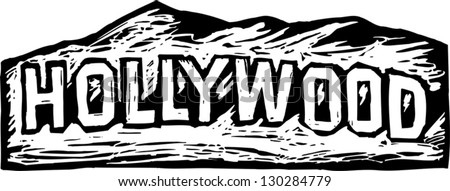 Black and white vector illustration of Hollywood sign