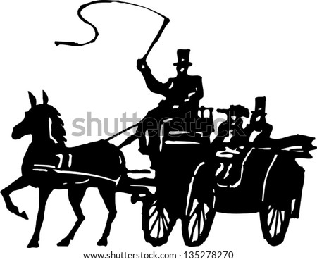 Black and white vector illustration of Horse and Coach - stock vector