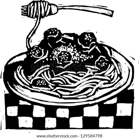 Black and white vector illustration of Italian spaghetti - stock vector