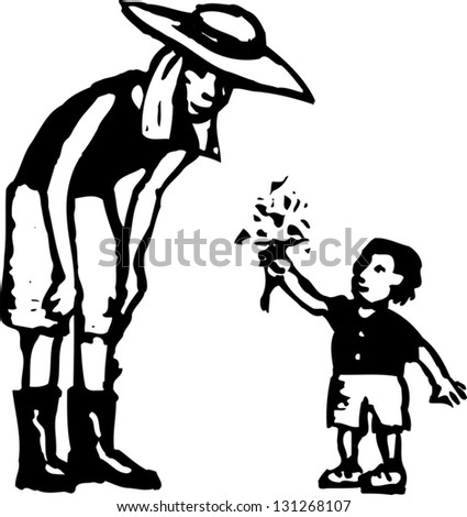 Black and white vector illustration of little boy giving flowers to his mother