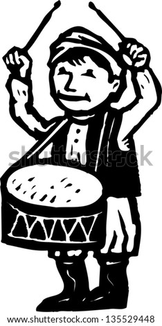 Black and white vector illustration of Little Drummer Boy