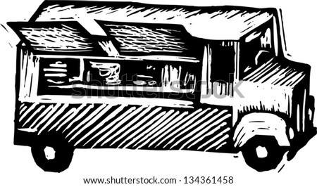 Black and white vector illustration of Lunch Wagon - stock vector